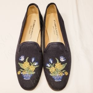 Stubbs & Wootton Embroidered Loafers w/Dust Bag